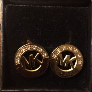 Michael Kors Gold MK Round Button Stud Earrings